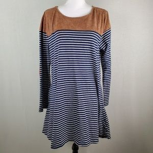 Umgee Shift Striped Dress Suede Elbow Patches XL
